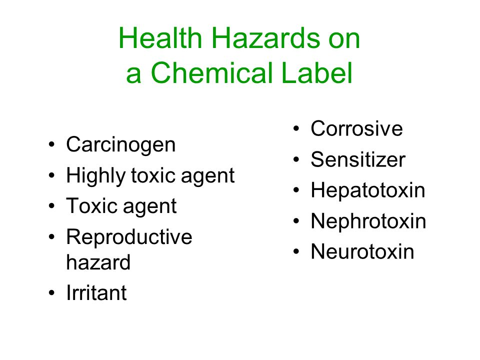 Health Hazards on a Chemical Label