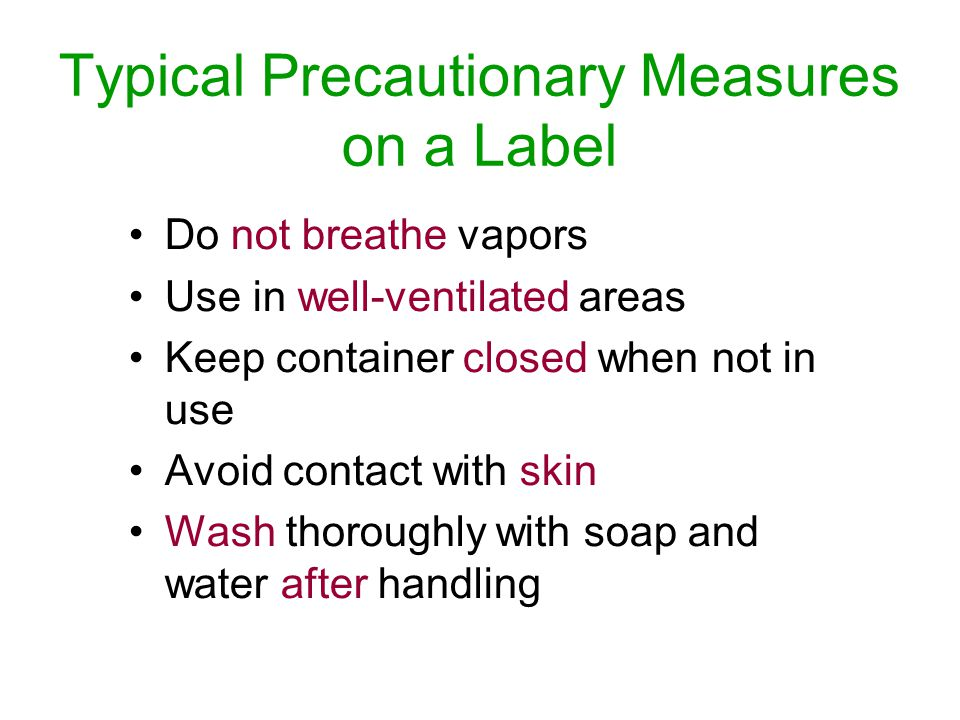 Typical Precautionary Measures on a Label