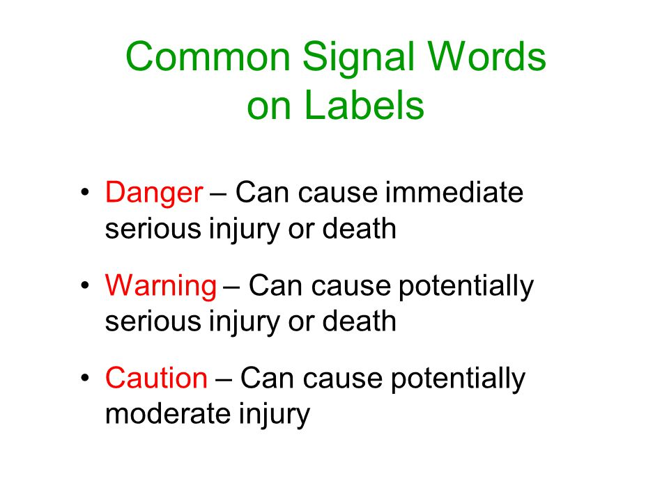 Common Signal Words on Labels