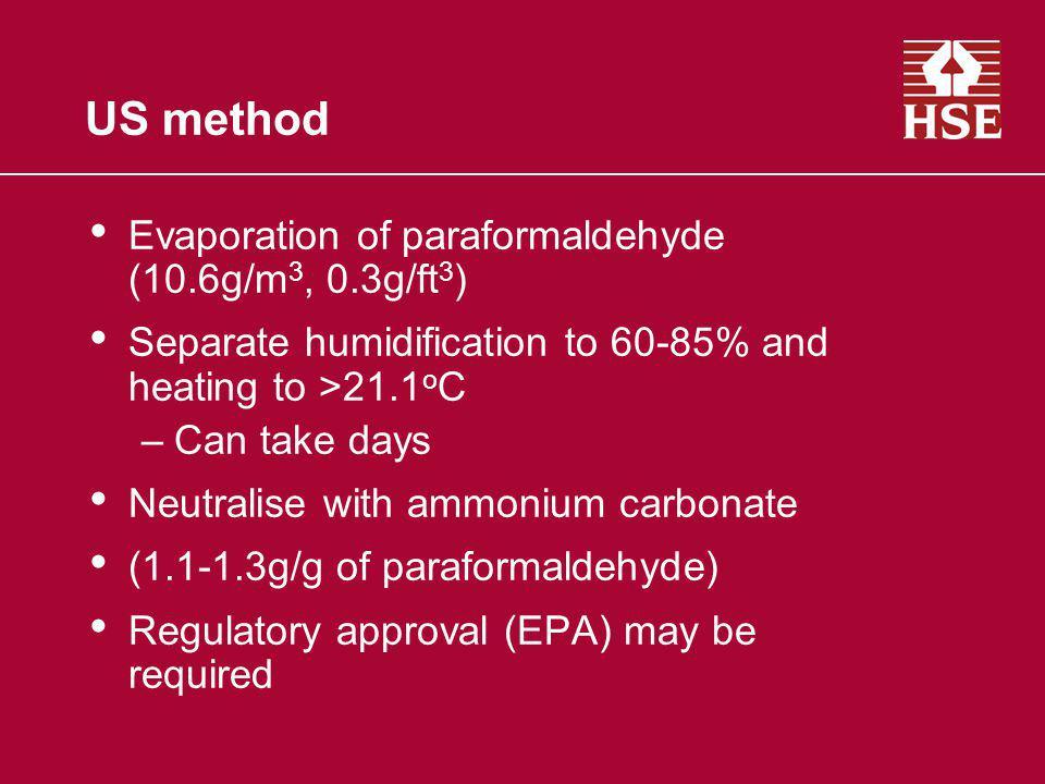 US method Evaporation of paraformaldehyde (10.6g/m3, 0.3g/ft3)