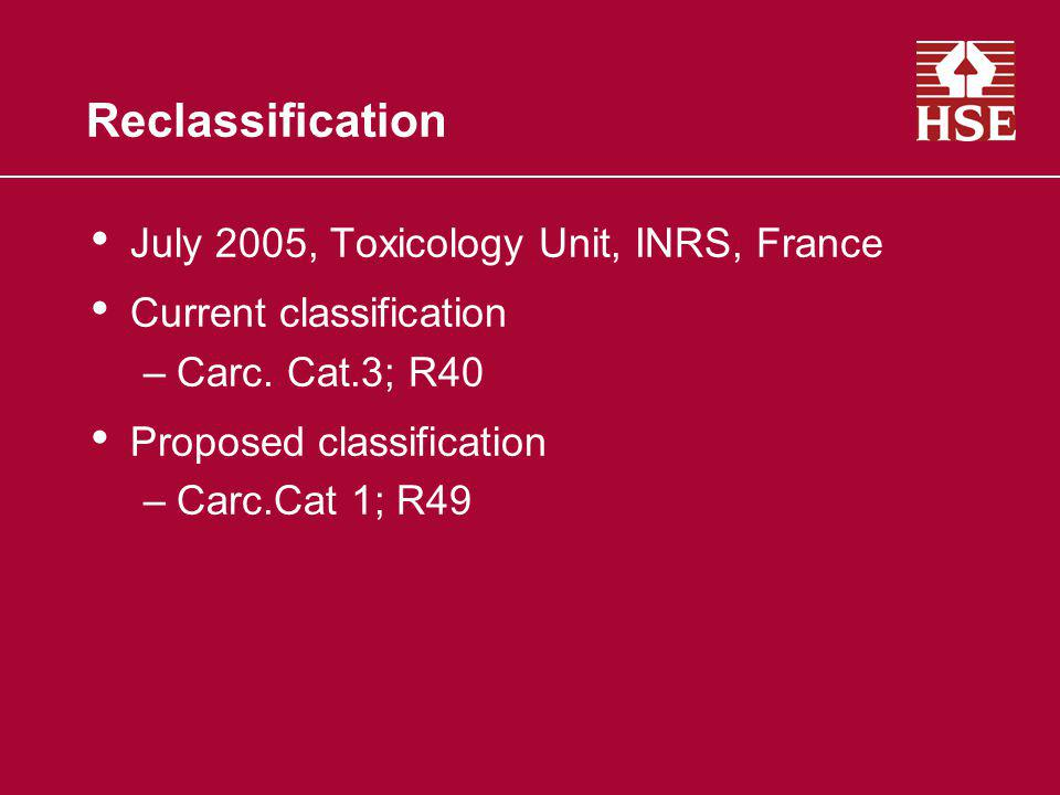 Reclassification July 2005, Toxicology Unit, INRS, France