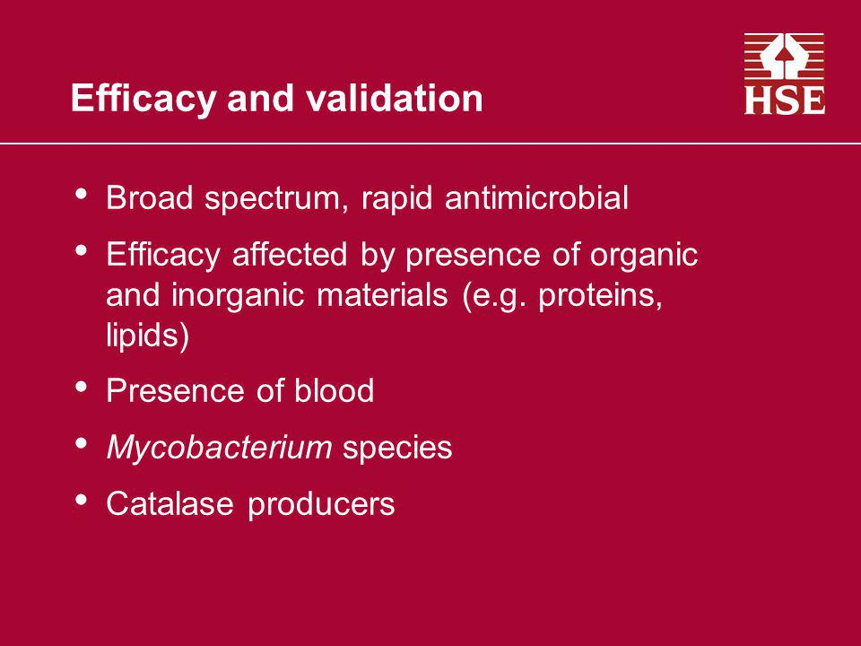 Efficacy and validation