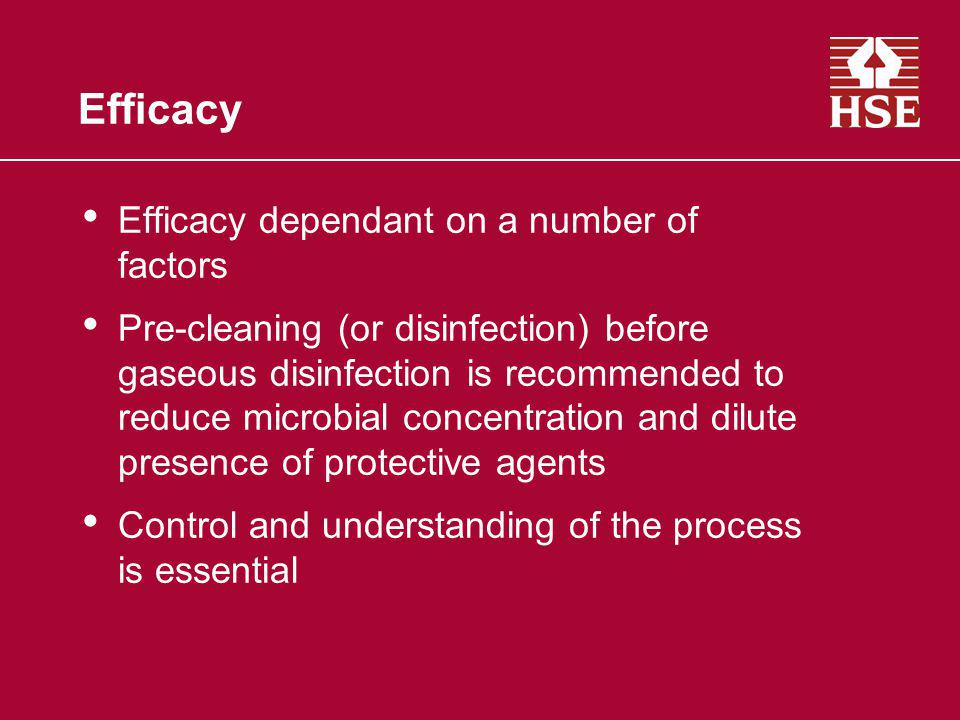 Efficacy Efficacy dependant on a number of factors