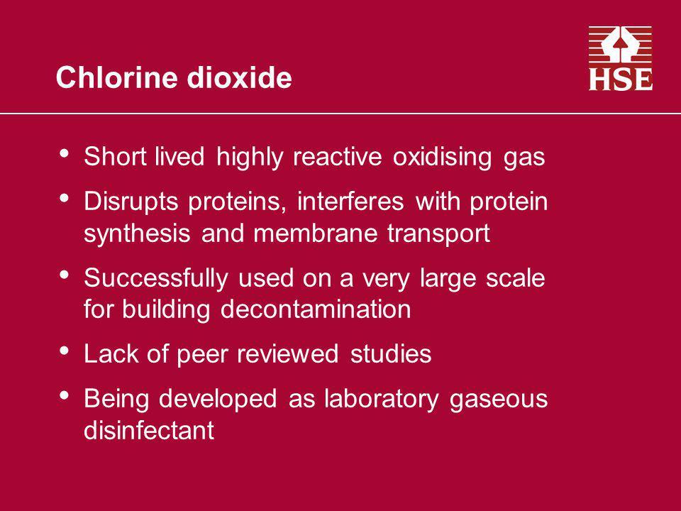 Chlorine dioxide Short lived highly reactive oxidising gas