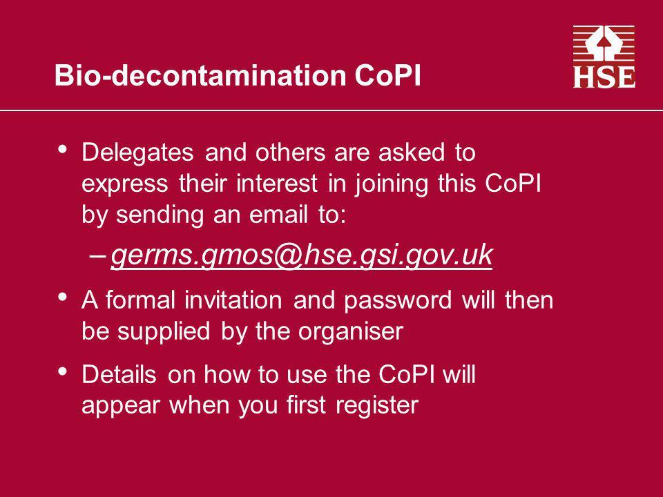 Bio-decontamination CoPI