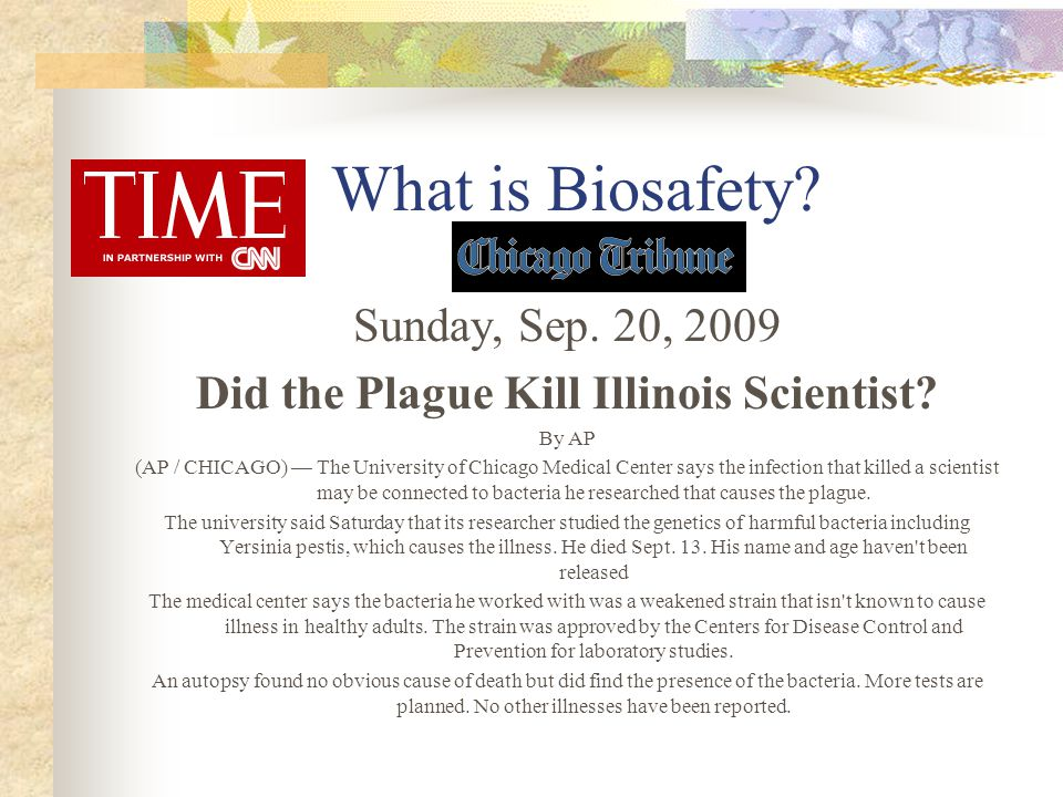 Did the Plague Kill Illinois Scientist