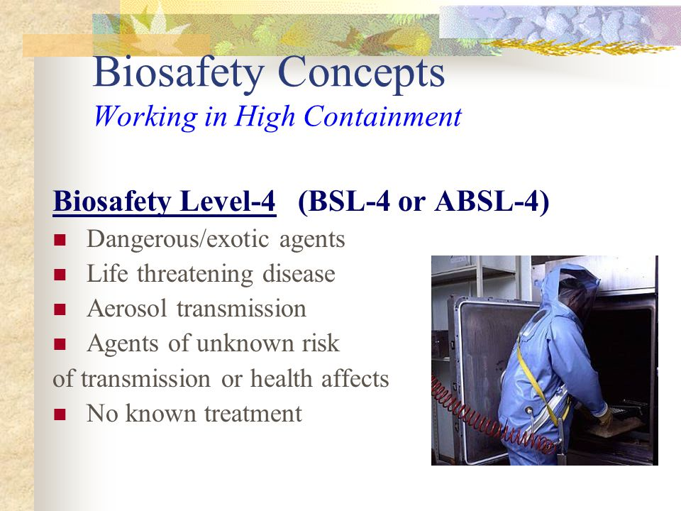 Biosafety Concepts Working in High Containment