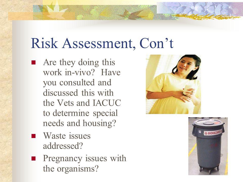 Risk Assessment, Con't