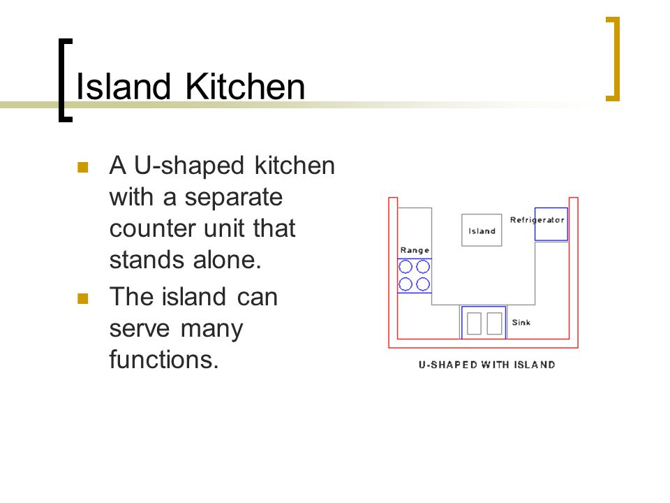 Island Kitchen A U-shaped kitchen with a separate counter unit that stands alone.