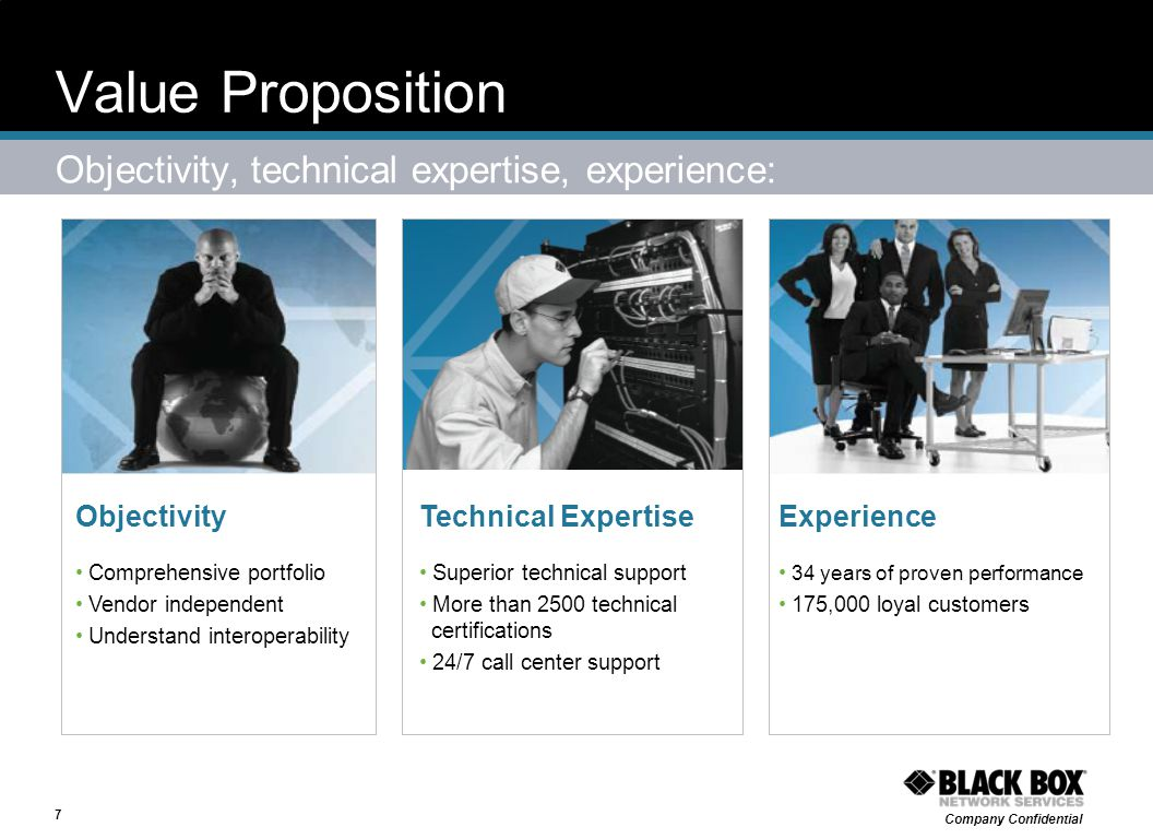 Value Proposition Objectivity, technical expertise, experience: