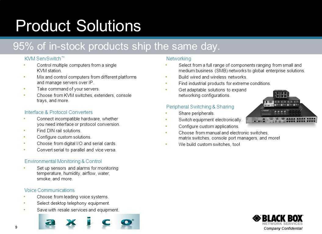 Product Solutions 95% of in-stock products ship the same day.
