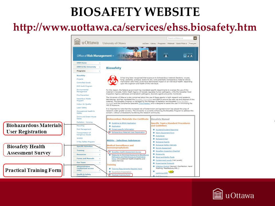 BIOSAFETY WEBSITE http://www.uottawa.ca/services/ehss.biosafety.htm