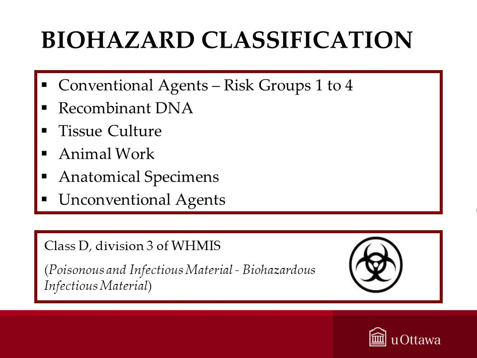 BIOHAZARD CLASSIFICATION