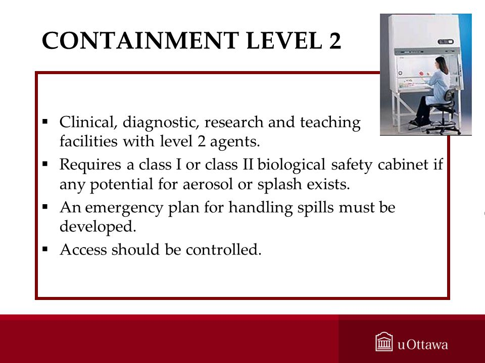 CONTAINMENT LEVEL 2 Clinical, diagnostic, research and teaching facilities with level 2 agents.