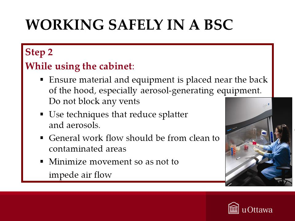 WORKING SAFELY IN A BSC Step 2 While using the cabinet: