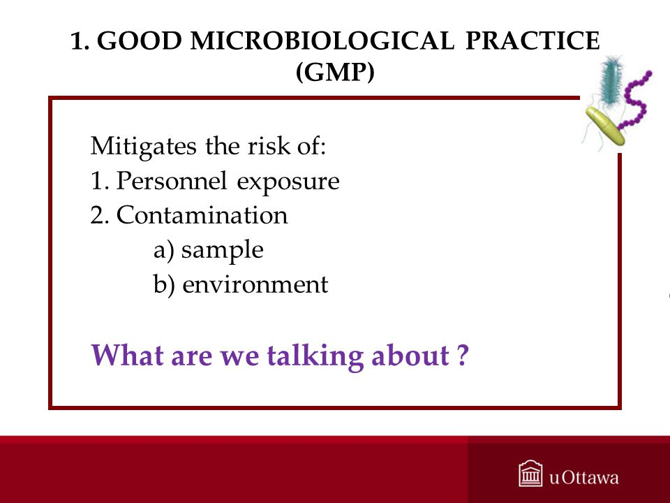 1. GOOD MICROBIOLOGICAL PRACTICE (GMP)