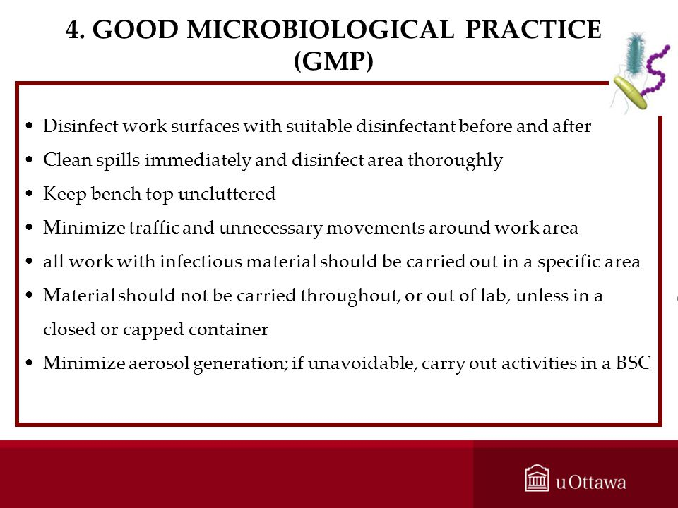 4. GOOD MICROBIOLOGICAL PRACTICE (GMP)
