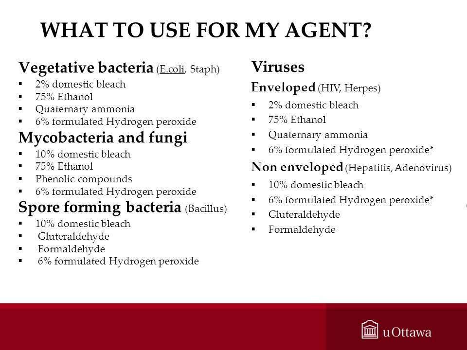 WHAT TO USE FOR MY AGENT Viruses Vegetative bacteria (E.coli, Staph)