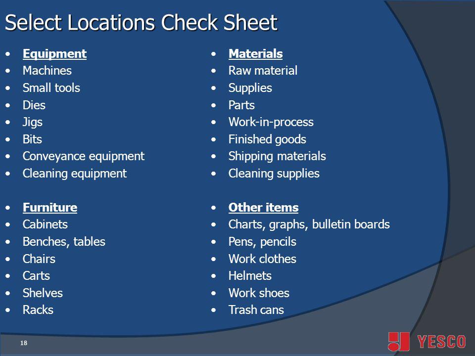 Select Locations Check Sheet