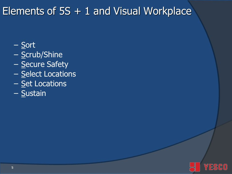 Elements of 5S + 1 and Visual Workplace