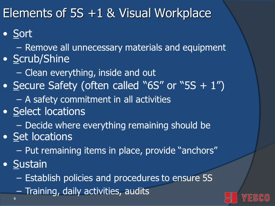 Elements of 5S +1 & Visual Workplace