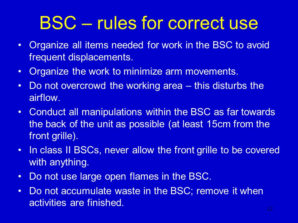 BSC – rules for correct use