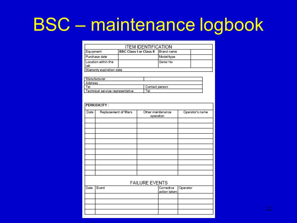 BSC – maintenance logbook