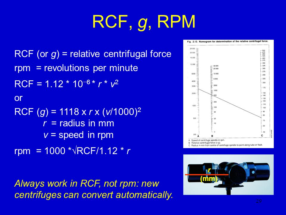 RCF, g, RPM RCF (or g) = relative centrifugal force