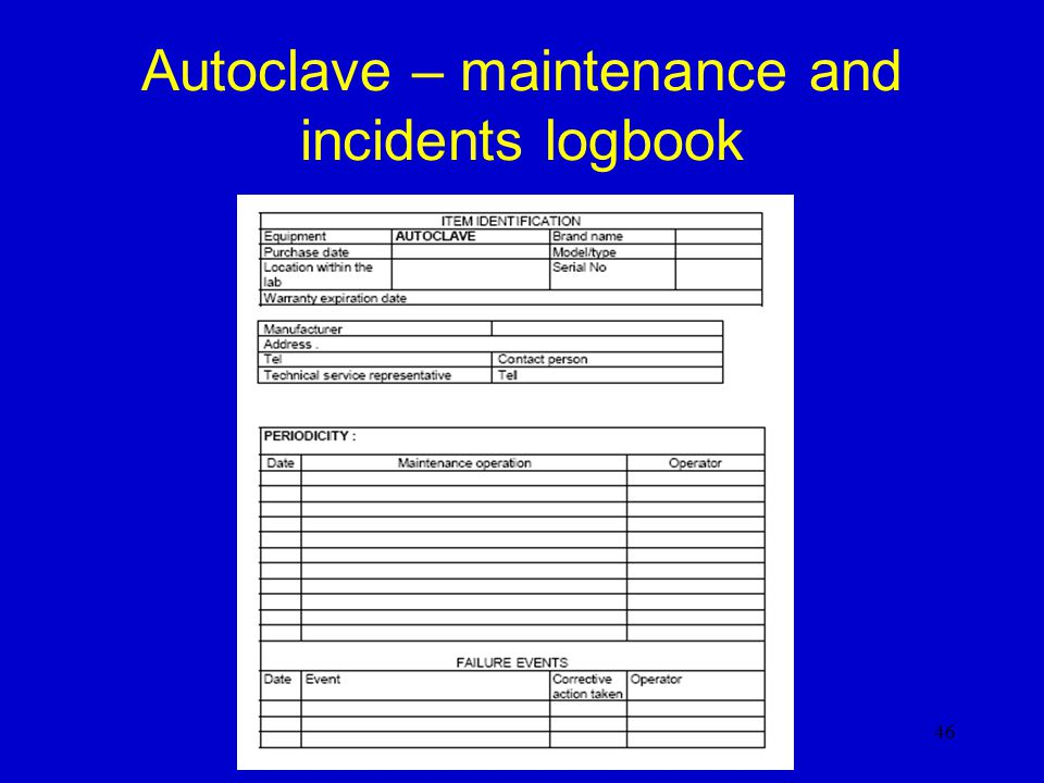 Autoclave – maintenance and incidents logbook