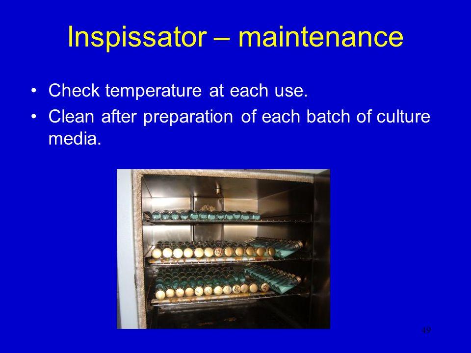 Inspissator – maintenance
