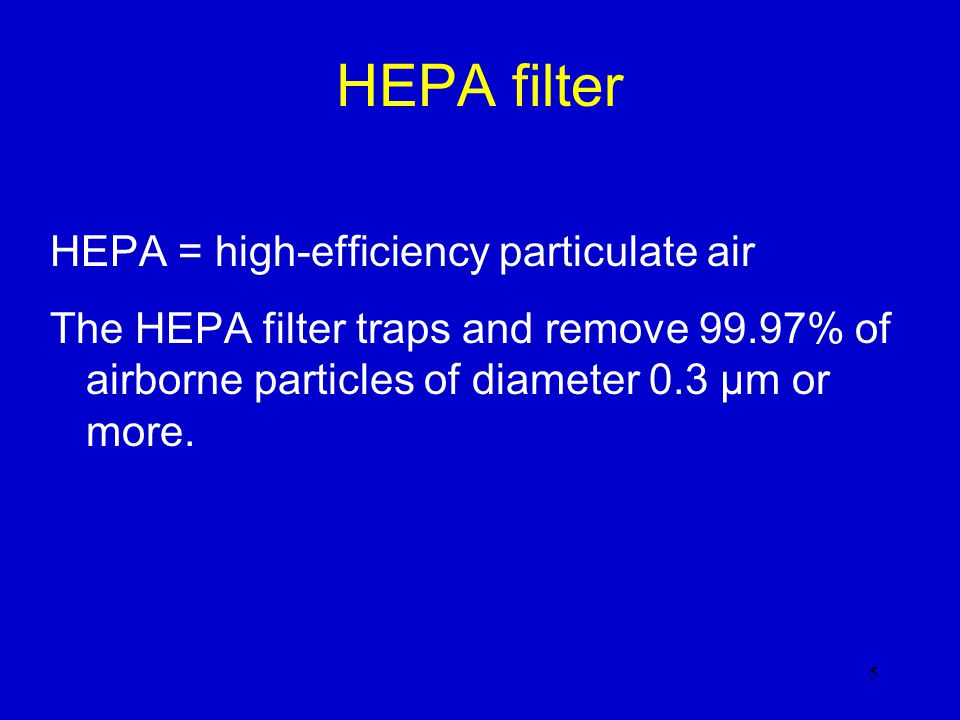 HEPA filter HEPA = high-efficiency particulate air