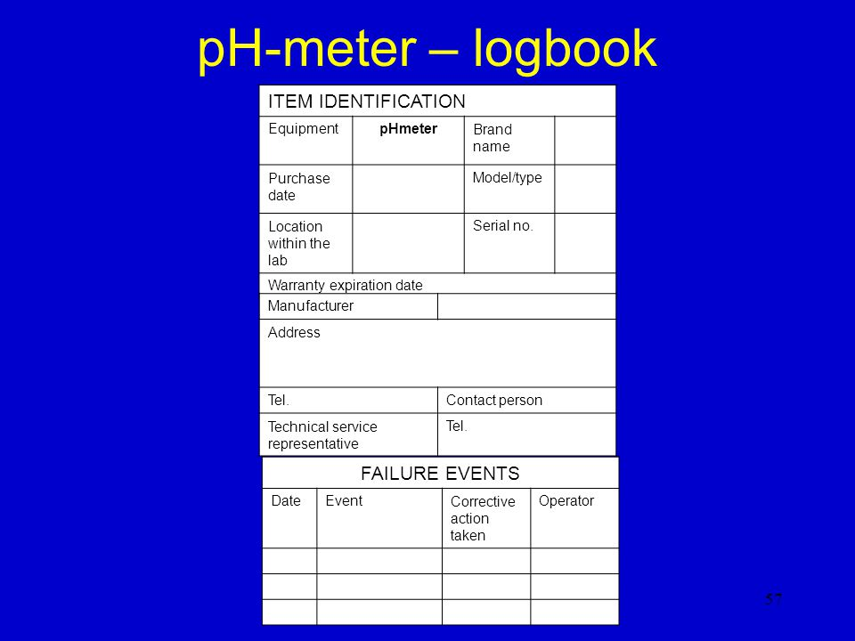 pH-meter – logbook ITEM IDENTIFICATION FAILURE EVENTS Equipment