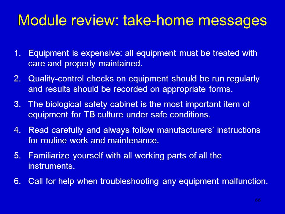 Module review: take-home messages