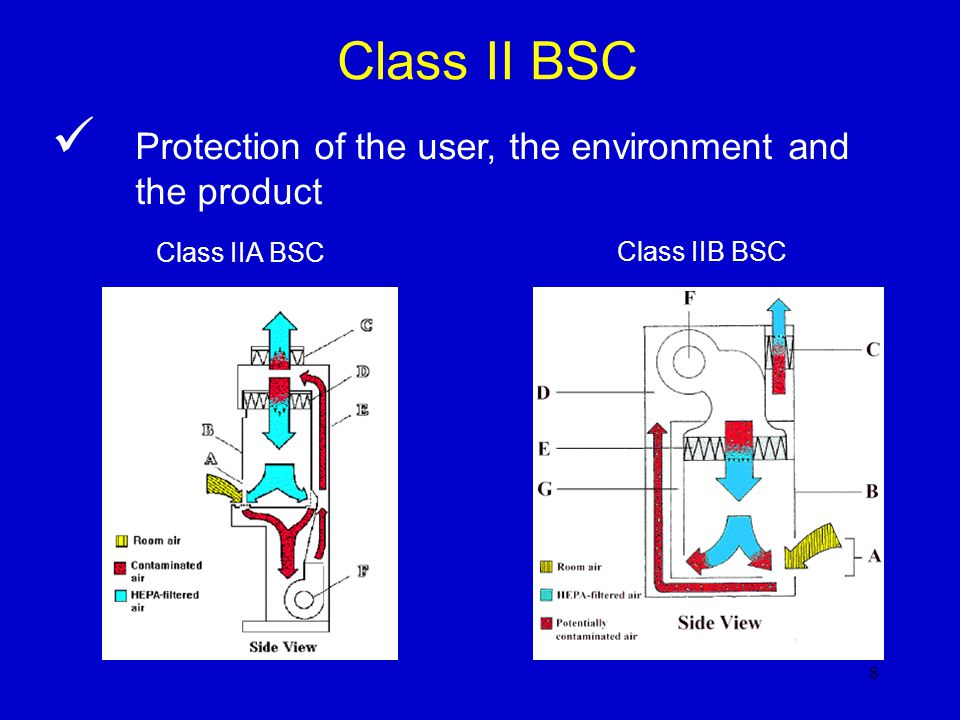 Class II BSC Protection of the user, the environment and the product