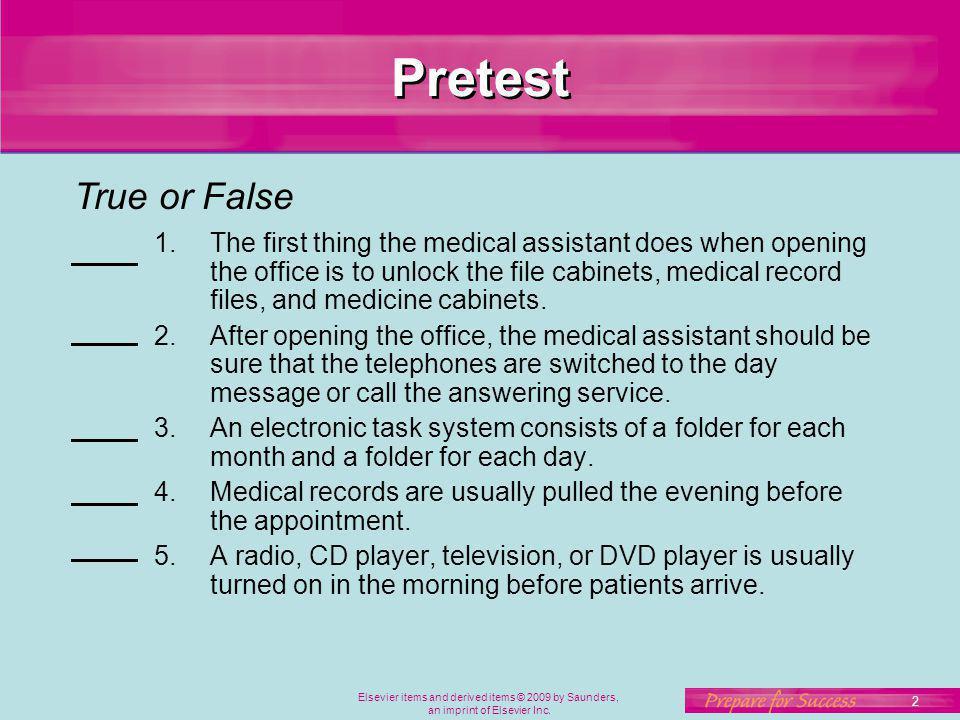 Pretest True or False.