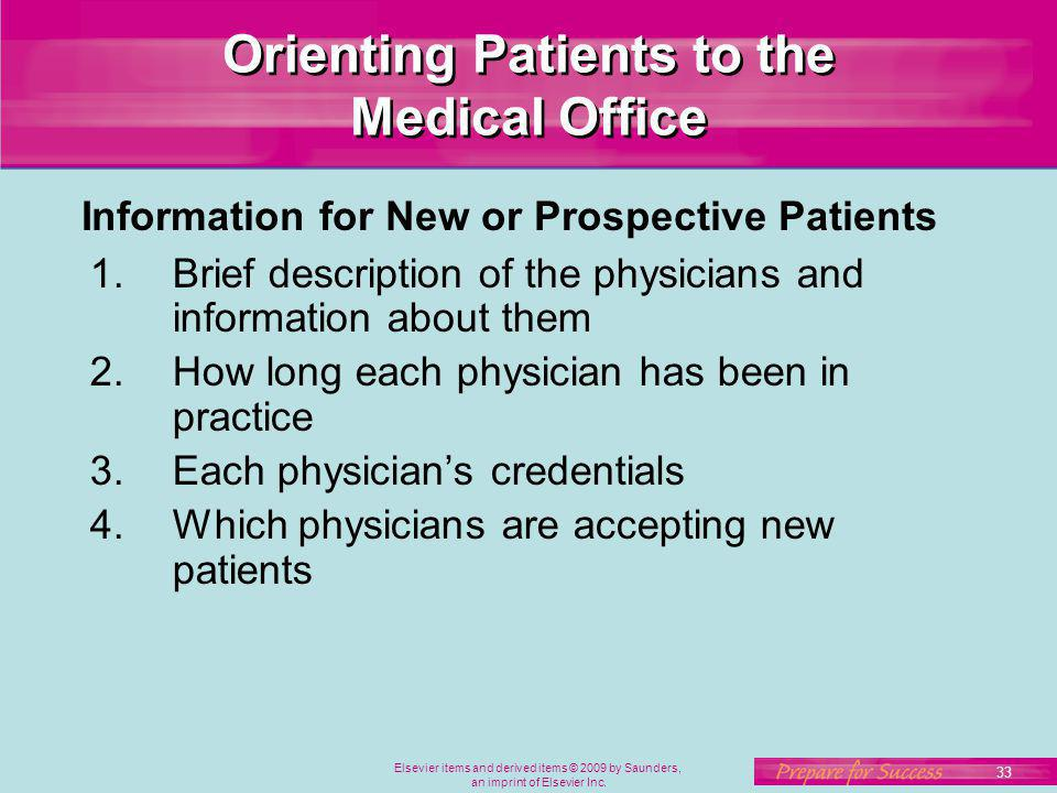 Orienting Patients to the Medical Office
