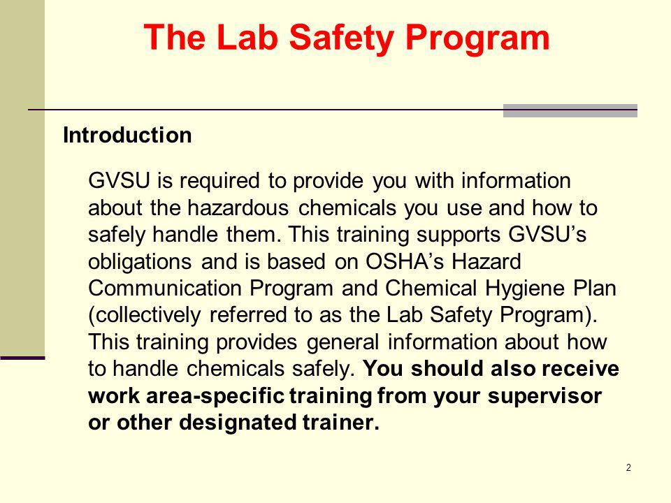 The Lab Safety Program Introduction