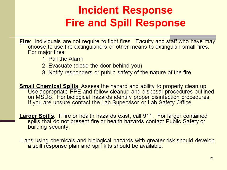 Incident Response Fire and Spill Response