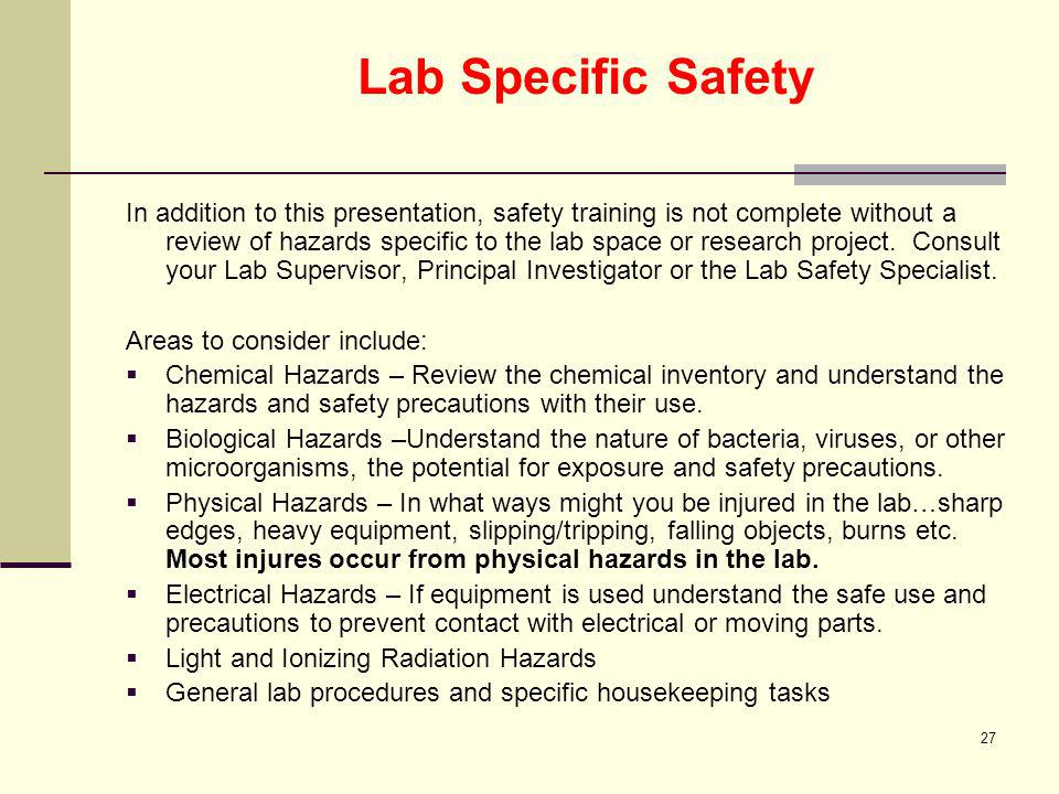 Lab Specific Safety
