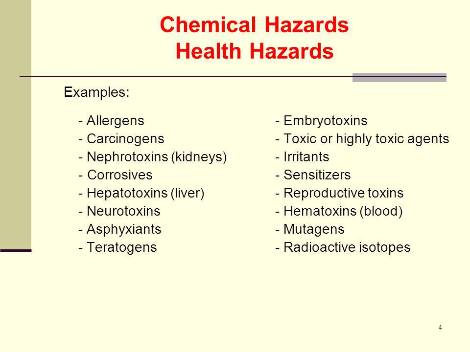 Chemical Hazards Health Hazards