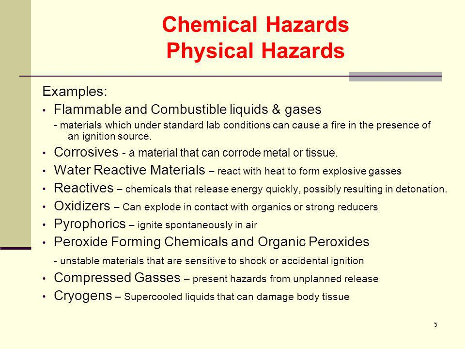 Chemical Hazards Physical Hazards