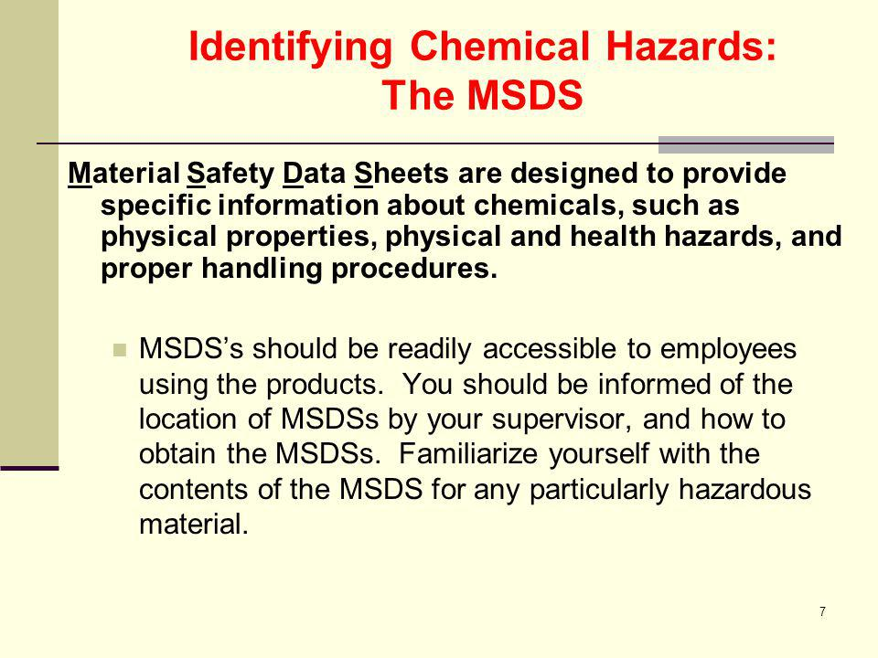 Identifying Chemical Hazards: The MSDS