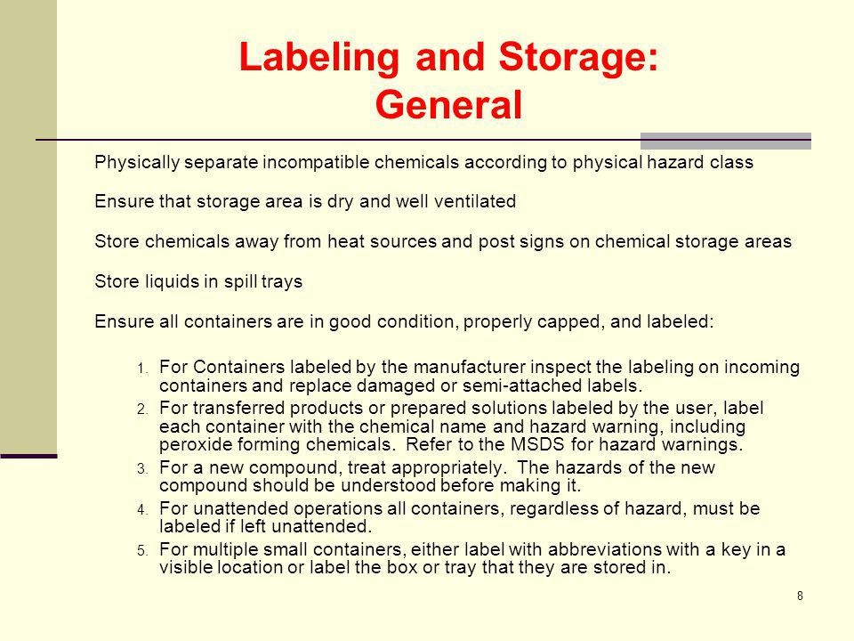 Labeling and Storage: General