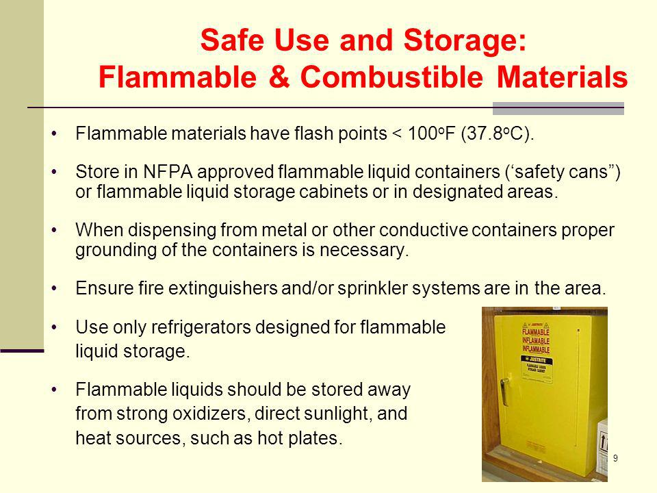 Safe Use and Storage: Flammable & Combustible Materials
