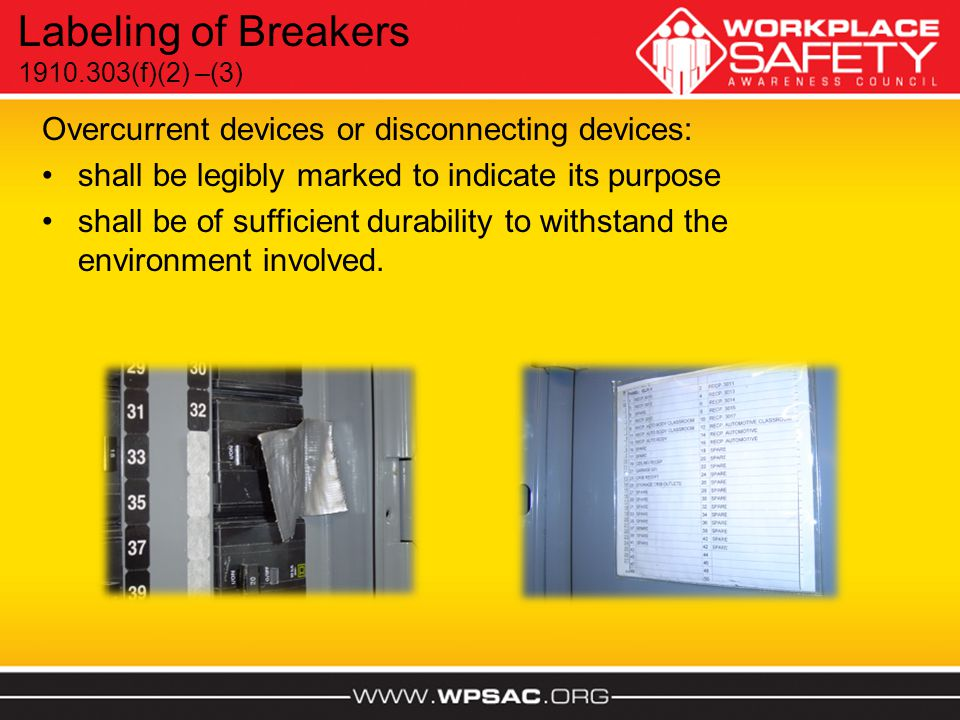 Labeling of Breakers Overcurrent devices or disconnecting devices: