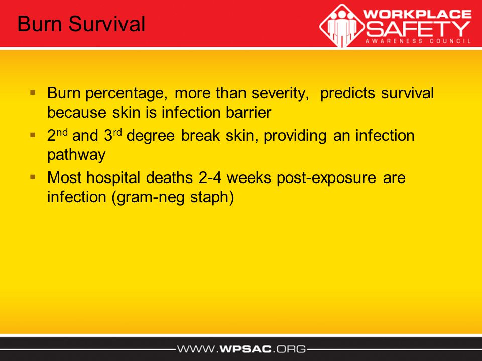 Burn Survival Burn percentage, more than severity, predicts survival because skin is infection barrier.