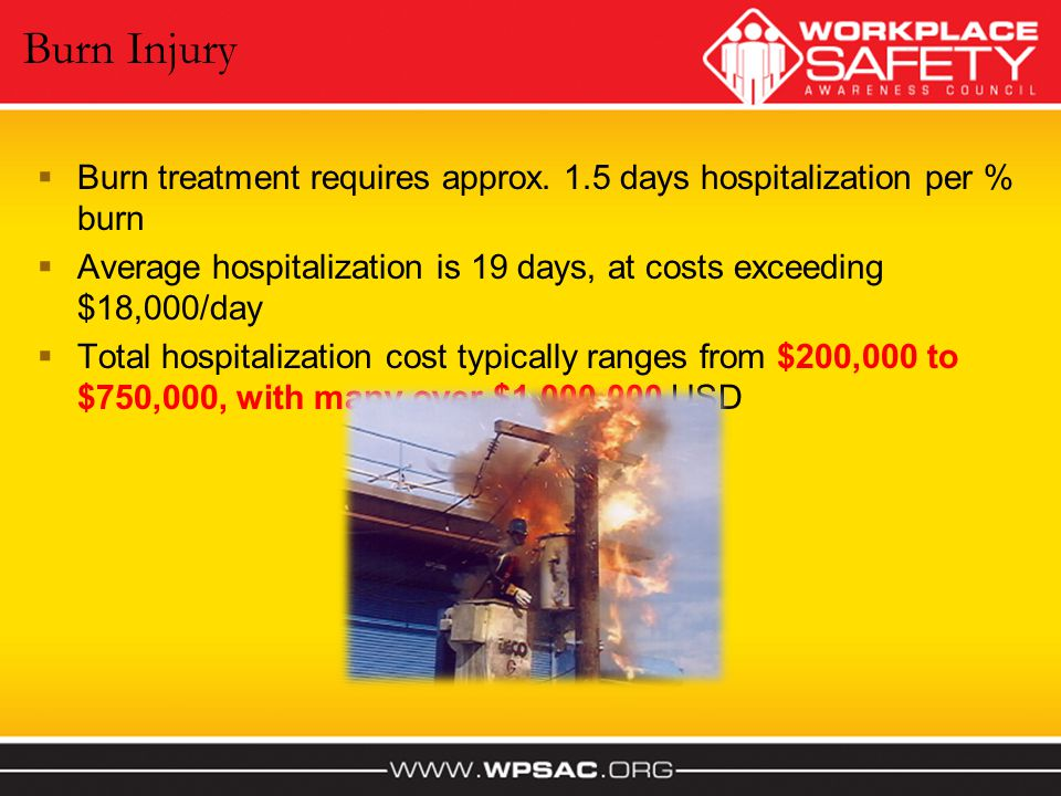 Burn Injury Burn treatment requires approx. 1.5 days hospitalization per % burn. Average hospitalization is 19 days, at costs exceeding $18,000/day.