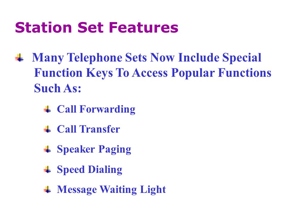 Station Set Features Many Telephone Sets Now Include Special