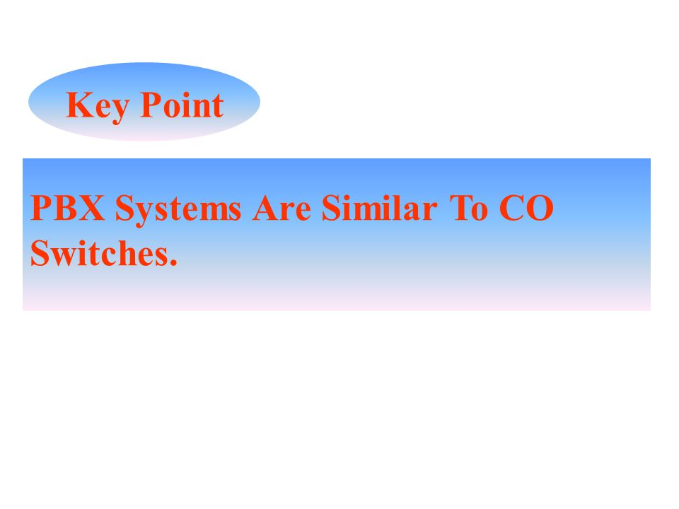 Key Point PBX Systems Are Similar To CO Switches.