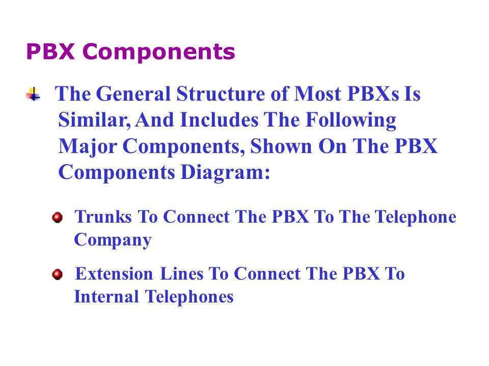 The General Structure of Most PBXs Is